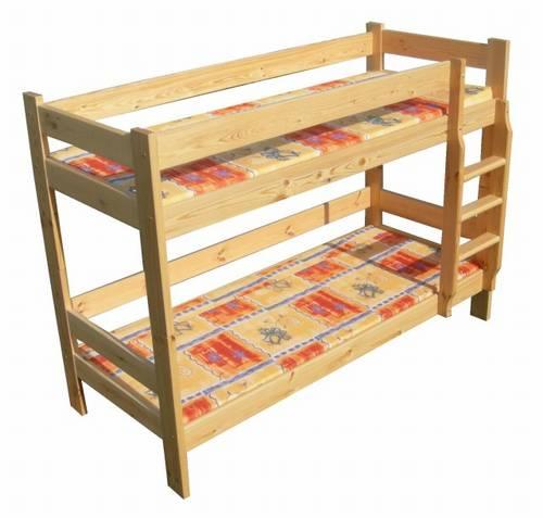 Dřevěná patrová postel z masivu Klasyk chalup