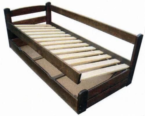 jednolůžková dřevěná postel s úložným prostorem Grand Prix chalup