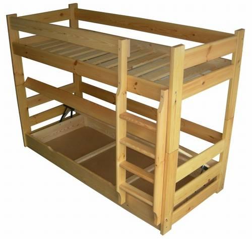 Dřevěná patrová postel z masivu HIT chalup