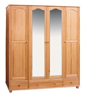 dřevěná šatní skříň čtyř dvířková z masivního dřeva borovice drewfilip 1
