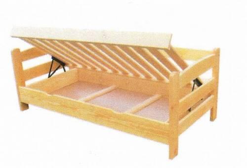 jednolůžková dřevěná postel s úložným prostorem Fenomen Komfort chalup