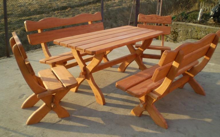dřevěný zahradní nábytek set Ozdobný 1+2+2 drewbo