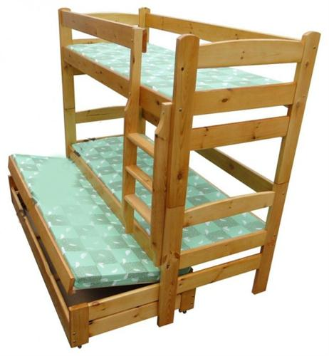 Dřevěná patrová postel z masivu TRIO chalup
