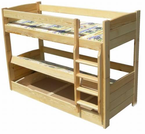 Dřevěná patrová postel z masivu Lux chalu