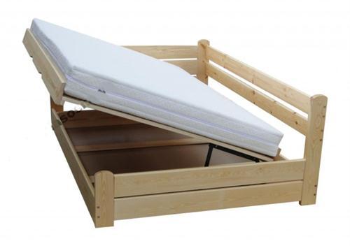 dvojlůžková dřevěná postel s úložným prostorem Forteca chalup