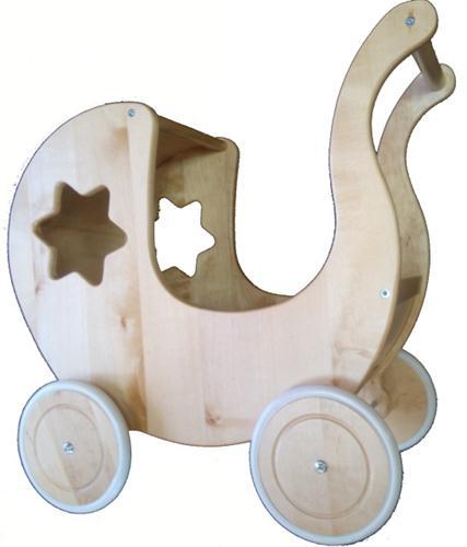 dětská dřevěná hračka kočárek pro panenky s hvězdičkou elm