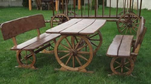 dřevěný chalupářský zahradní nábytek souprava Kutsche aresso olše