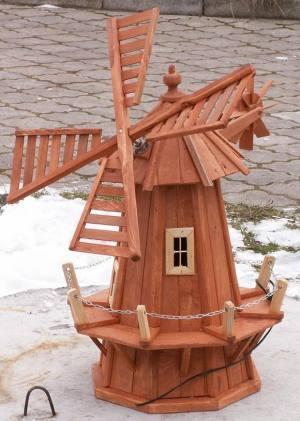 dřevěný zahradní dekorační větrný mlýn s řetízkem 100