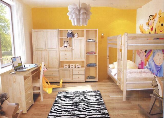 dřevěný moderní dětský pokoj z masivního dřeva borovice drewfilip