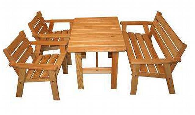 zahradní nábytek dřevěný pro děti set Aster 2+1+1 trim skladem