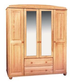 dřevěná šatní skříň čtyř dvířková z masivního dřeva borovice drewfilip 2