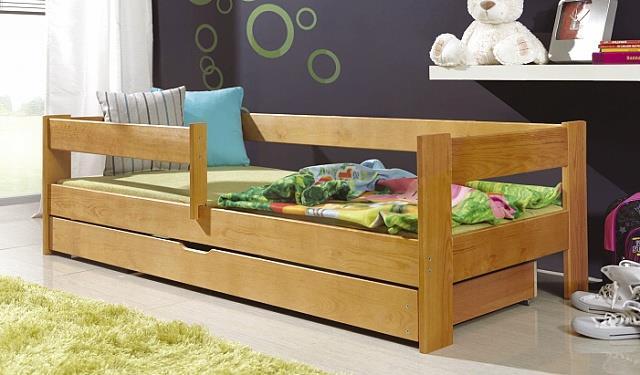 dřevěná jednolůžková postel s úložným prostorem Hugo bogdmar