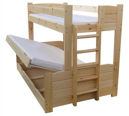 dřevěná postel patrová masivní Omega chalup
