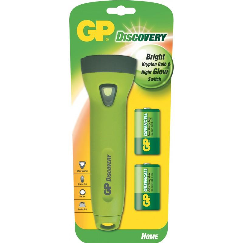 Kryptonová svítilna GP L072 + 2 x D baterie GP Greencell