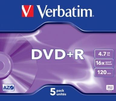 Verbatim DVD+R 4,7GB 16x,5ks