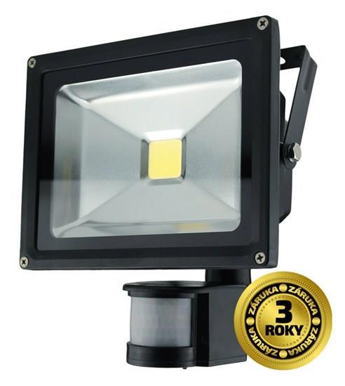 LED venkovní reflektor, 20W, 1500lm, AC 230V, černý, se senzorem
