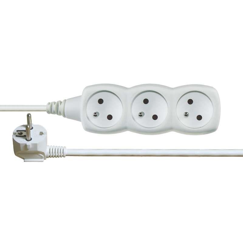Kabel prodlužovací 1,5m - 3 zásuvky bílý