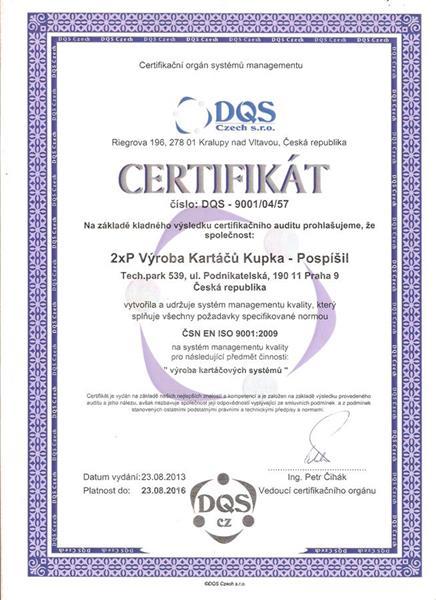 Kartáče Praha - certifikát